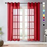 Topfinel Transparente Visillos da Panels Modernas Visillos para Ventanas Cortinas Dormitorio con Ojales,2 Piezas,140 x 245 cm,Rojo