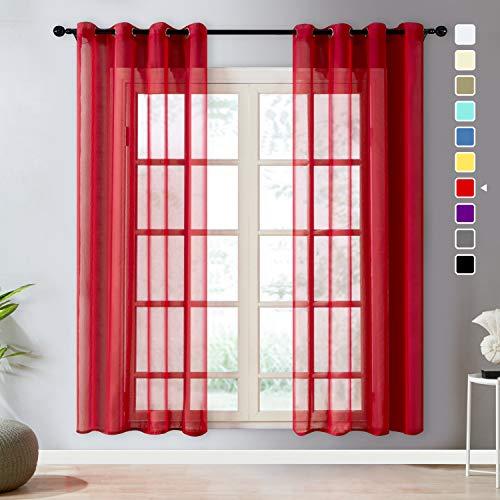 cortinas salon modernas 2 piezas rojas