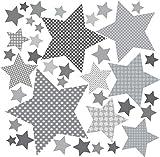 greenluup Wandsticker Wandaufkleber 80 Sterne Grau Kinderzimmer Baby Mädchen Jungen Wanddeko