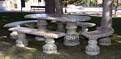 DEGARDEN Conjunto de Mesa 190cm. Marta Alargada y Bancos para jardín o Exterior de hormigón-Piedra y Azulejos: Amazon.es: Jardín