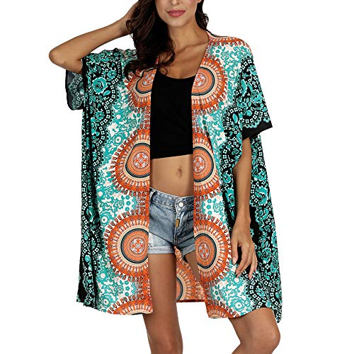 Nuofengkudu Damen Cardigan Kimono Hippie Kurzarm Bedruckt Strickjacke Blusen Leichter Sommer Strand Badeanzug Bikini Cover up (Grün,One Size)