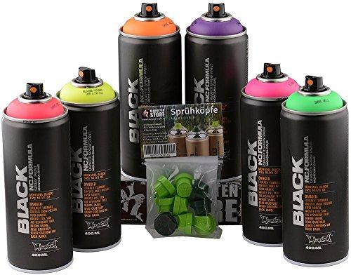 Sprühdosen Set Montana Black Infra Colors fluoreszierende Neon Farben 6x400ml + Ersatzsprühköpfe für Hobby, Handwerk, Graffiti, Modellbau & Werkstatt