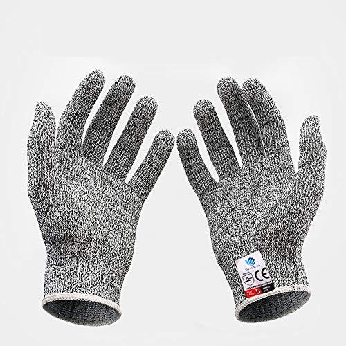 Grade 5 Snijwerende Handschoenen Hoge sterkte Polyethyleen HPPE Gebreide Keuken Cut-proof Handschoenen Houtbewerking Slacht Dipped Handschoenen, Grijs –S/M/L/XL Large Grijs