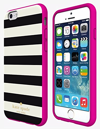 Kate Spade Flexible Hardshell Case Candy Stripe Black and White For Apple iPhone 6 and 6S KSIPH-023-CSBC