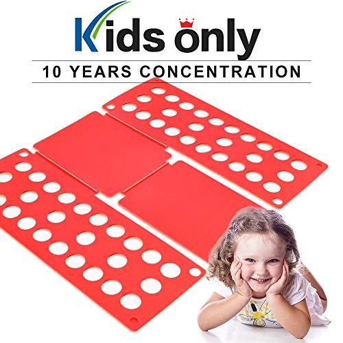 PetOde Shirt Folder Shirt Folding Board Clothes Folder Easy and Fast Flipfold for Children, Red