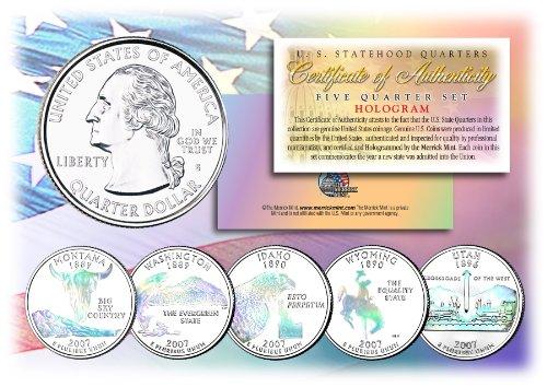 2007 US Statehood Quarters HOLOGRAM *** 5-Coin Complete Set *** w/Capsules & COA