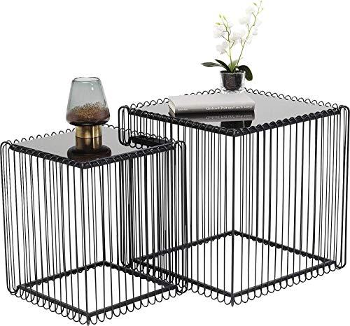 Kare bijzettafel Wire Square, zwart, (2/set), 45 x 45 cm