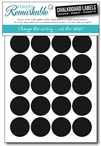"Simply Remarkable Reusable Chalk Labels - 60 Circle Shape 1.25"" Adhesive Chalkboard Stickers, Light Material with Removable Adhesive and Smooth Writing Surface. Can be Wiped Clean and Reused, For Organizing, Decorating, Crafts, Personalized Hostess Gifts, Wedding and Party Favors"