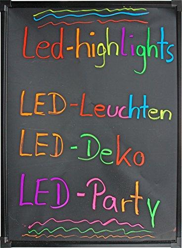 LED-Highlights Deko Leuchtschild Reklame Tafel 80 x 60 cm mit Fernbedienung und 8 Neon Stifte Leuchttafel Werbeschild Buchstaben Bunt Beschreibbar Leuchtreklame Licht Box