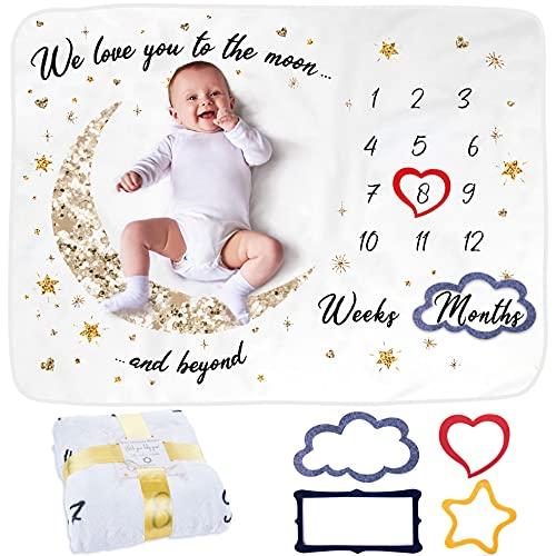 Manta Meses Bebé | Modelo Unisex | Regalo De Fiesta De Nacimiento | Temática Luna y Estrellas | Suave y Gruesa | Manta para Fotos Mensuales | Control De Edad y Crecimiento | Manta Mensual De Hito