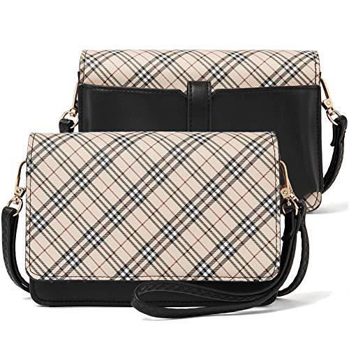 BROMEN Bolsos Crossbody para las mujeres pequeño teléfono celular bolso de hombro cartera cartera embrague, (A cuadros), Small