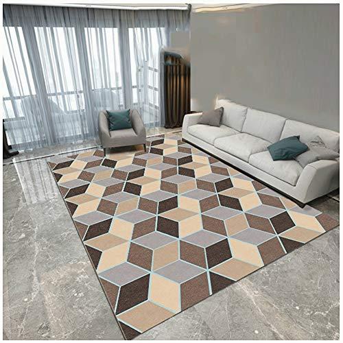 ZWRYW Alfombra de sala de estar Alfombra Alfombra de piso Felpudo suave antideslizante duradero práctico cojín nórdico dormitorio sofá pasillo fácil cuidado (color: A, tamaño: 140 x 200 cm)