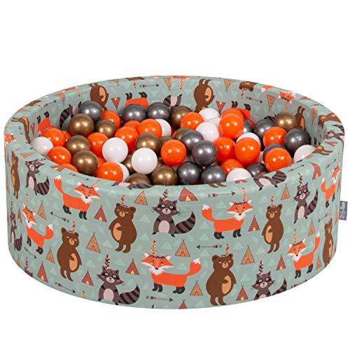 KiddyMoon Bällebad 90X30cm/200 Bälle ∅ 7Cm Bällepool Mit Bunten Bällen Für Babys Kinder Rund, Füchse-Grün:Orange-Silbern-Golden-Weiß