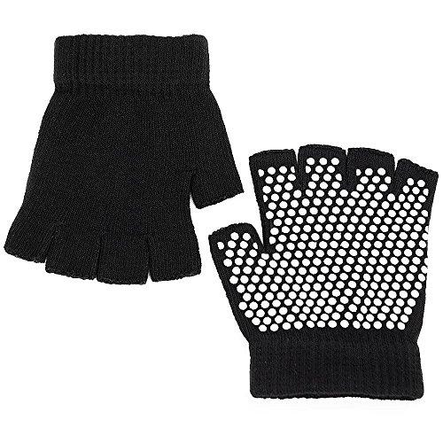 Vococal - 1 par Guantes Deporte Elástico Sin Dedos de Transpirable Antideslizante para Mujer Yoga Pilates Ejercicio con Puntos de Silicona Blanca,Negro