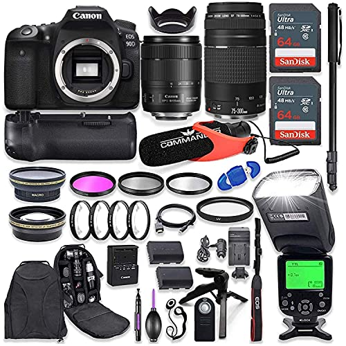 Canon EOS 90D DSLR Camera with EF-S 18-135mm f/3.5-5.6 is USM Lens + Canon 75-300mm III Lens, Battery Grip with Advanced Professional Photo & Travel Bundle