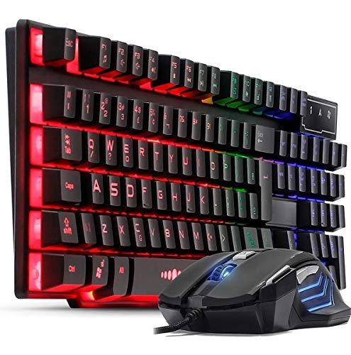 Kit Teclado Semi Mecânico Gamer Multimídia Abnt2 Led Rgb com Mouse 3200dpi Laser Usb 7 Botões