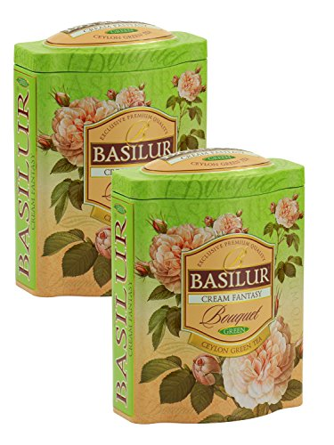 Basilur | Cream Fantasy Green Tea | Ultra- Premium Ceylon Green Loose Tea | Natural Papaya, Amaranth, Strawberry, Cream | 100g (3.52 oz.) Tin Caddy | Pack of 2