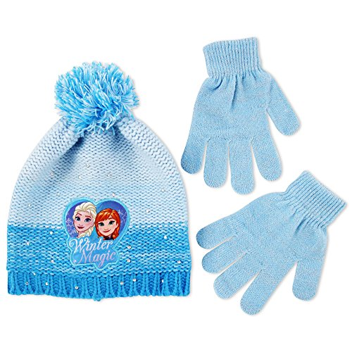Disney Little Girls Frozen Elsa and Anna Beanie Hat and Glove Cold Weather Set, Age 4-7,Blue,One Size