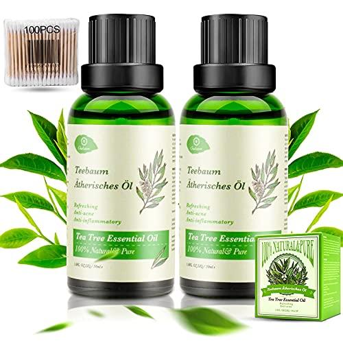 Aceite Árbol del Té 100% Puro, OUKZON 2x30ML Natural Orgánico Aceites Esenciales Tea Tree - Bio Tratamiento de Acné para Cara y Cuerpo, Essential Oil para Difusor, Humidificador, Aromaterapia, Masaje
