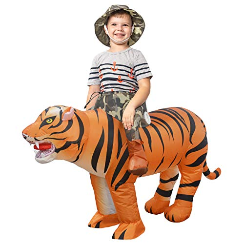 GOOSH 48 INCH Inflatable Costume for Kids, Halloween Costumes Boys Girls Tiger Rider, Blow Up Costume for Unisex Godzilla Toy