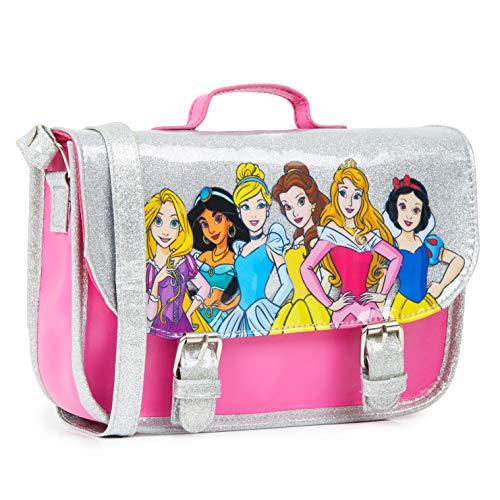 Disney Bolso Niña, Bolso Bandolera Con Las Princesas, Bolsos Para Niñas Con Detalles de Brillantina, Regalos Originales Para Niñas y Adolescentes