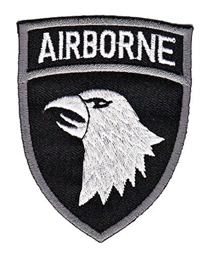 Patch Airborne Adler Schwarz Aufnäher Army Bügelbild Applikation Größe 6,5 x 8,2 cm