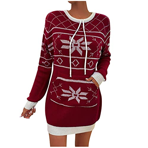 Ugly Christmas Sweater Dress, Geometric Snowflake Long Pullover Loose Oversize Xmas Sweatshirt Dress Red