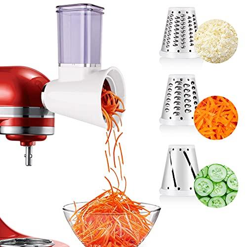 aikeec Nueva actualización KitchenAid MVSA Accesorio kitchen aid mesa cortadora/rebanadora para robots de cocina (accesorio opcional para batidoras de pie KitchenAid), Acero Inoxidable