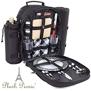 Plush Picnic Picnic Backpack/Picnic Basket with Cooler Compartment, Detachable Bottle/Wine Holder, Fleece Blanket, Plates and Cutlery Set (2 Person)
