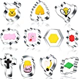 11 Pieces Plaque Frame Bee Cartoon Cookie Cutter Set Fondant Tiles Honeycomb Hexagon Honey Jar Winnie the Pooh Molds Cutter for Bee Party Making Muffins, Biscuits,Fruit, Bread Wedding Birthday Decor