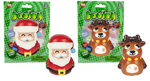 Two Adorable 4' Christmas Squishies ~ Santa & Reindeer ~ Holiday Slow-Rise Squish Characters ~ Party Favors ~ Gift ~ Stocking Stuffers
