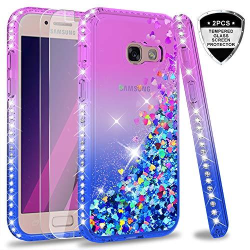 LeYi Compatible con Funda Samsung Galaxy A3 2017 Silicona Purpurina Carcasa con [2-Unidades Cristal Vidrio Templado],Transparente Cristal Bumper Telefono Gel TPU Case Cover para Movil A3 2017 Púrpura