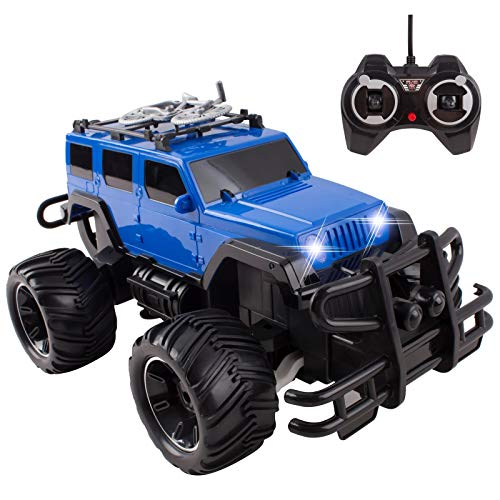 RC Truck Jeep Big Wheel Monster Remote Control Car With LED Headlights Ready To Run Includes Rechargeable Battery 1:16 Size Off-Road Radio Beast Buggy Great Toy Gift For Boys Children