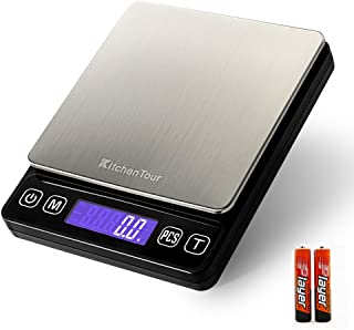 KitchenTour Digital Kitchen Scale - 3000g/0.1g High Accuracy Precision Multifunction Food Meat Scale with Back-Lit LCD Display(Batteries Included)