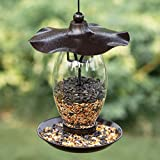 Birdream Bird Feeder for Outside Hanging Glass Wild Heavy Duty Metal Wavy Design Bird Feeders with 1.5 lb Bird Seed Capacity Unique Art Decor for Garden Yard Lawn