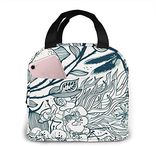 Bolsa de almuerzo con aislamiento Bolsa fresca para loncheras Tela impermeable Bolso de picnic plegable para mujeres Hombres adultos Niños Flor floral 75-13