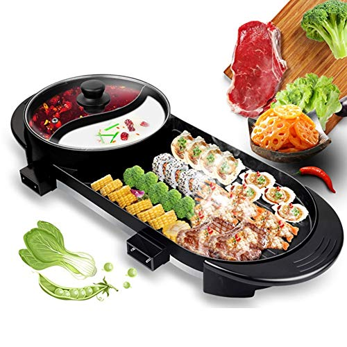 CABINAHOME Electric Grill Indoor Hot Pot, 2400W Multifunctional Hot Pot Barbecue Dual-purpose with Separate Dual Temperature Contral, 110V