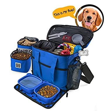 Overland Dog Gear Dog Travel Bag - Week Away Tote For Med And Large Dogs - Includes Bag, 2 Lined Food Carriers, Placemat, and 2 Collapsible Bowls (Royal Blue)