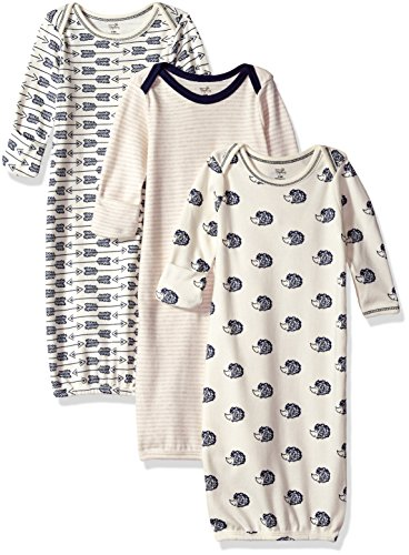 Touched by Nature Unisex Baby Organic Cotton Gowns, Hedgehog, 0-6 Months