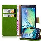 Cadorabo Hülle für Samsung Galaxy A3 2015 in Gras GRÜN – Handyhülle mit Magnetverschluss, Standfunktion und Kartenfach – Case Cover Schutzhülle Etui Tasche Book Klapp Style