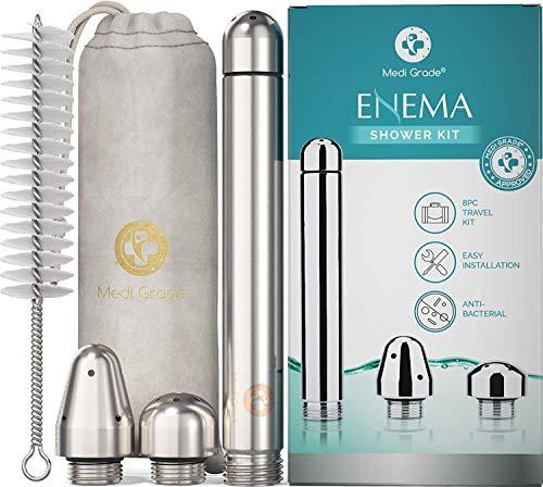 Medi Grade Accessori Enema Kit per Doccia Anale – 4 Pezzi in Alluminio Deluxe per Lavaggio Vaginale e Anale Donna e Uomo – Include una Custodia in Velluto – Lavaggio Intimo Unisex
