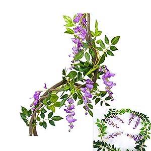 6.6ft Artificial Flower Ivy Silk Wisteria Flower Vine Green Leaf Hanging Vine Garland for Wedding Party Home Garden Ceremony Wedding Arch Floral Decor (Purple, 2)