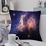 Fbdace Soft Microfiber Throw Pillowcase Set Galaxy Stardust in Universe Cushion Case for Sofa Bedroom Car 16 X 16 Inch