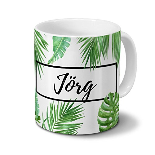 printplanet Tasse mit Namen Jörg - Motiv Dschungel Floral Leaf - Namenstasse, Kaffeebecher, Mug, Becher, Kaffeetasse - Farbe Weiß