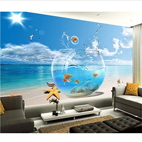 Dalxsh 3D-afbeelding op zee, behang voor woonkamer, bank, slaapkamer, tv, aquarium, wandbehang 120 x 100 cm.