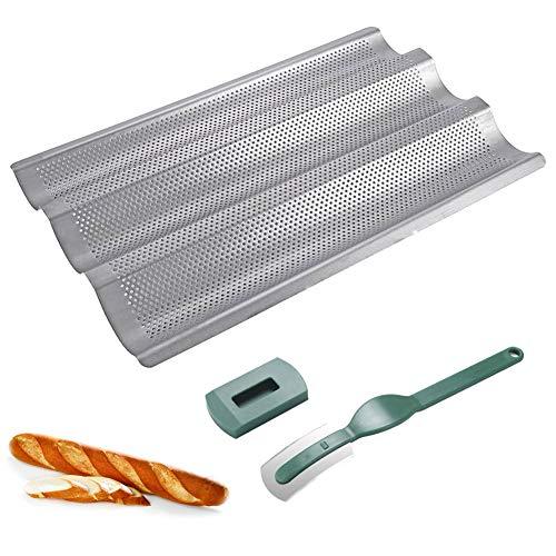 Baguette-Backblech Antihaft Baguette-Blech Perforiert Französische Brotform zum Backen 3 Mulden Silber mit gebogenem Brotschneider Teig Slashing Tool Baguette-Backset