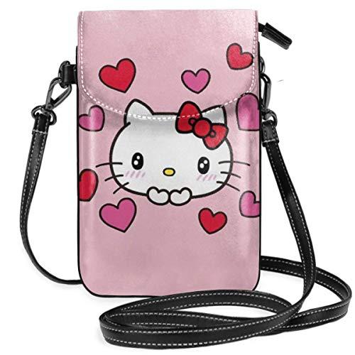 Pequeños Crossbody Bolsas de Teléfono Celular Kawaii Kitty Print Con Ranuras para Tarjetas de Crédito