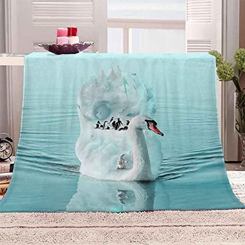 RLSRNC Dicke Flanell Fleecedecke Tagesdecken 3D Tier weißer Schwan Winterdecken Wirft Warme Flanell Samt Fleece Tragbare Reisedecken weiche warme Couchdecke 70x100cm