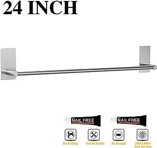 LuckIn Self Adhesive Towel Bar 24 Inch, Stick on Towel Rod Brushed Nickel, No Drill Towel Rack Holder Damage Free Wall Mounted Bathroom Towel Rail, TR012024S
