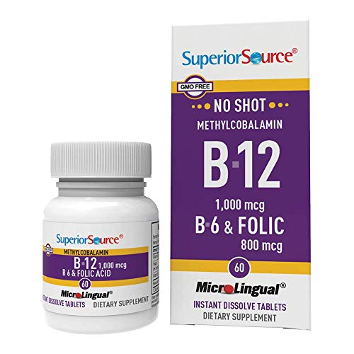 Superior Source No Shot Vitamin B12 Methylcobalamin 1000 mcg Sublingual - B6 - Folic Acid - Instant Dissolve Tablets - Methyl B12 Supplement 60 Count